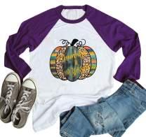 Women Halloween Pumpkin Print Shirt Top Thanksgiving Thankful Blessed T-Shirt