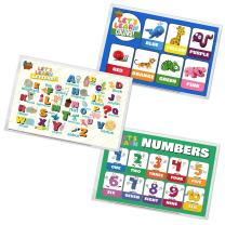 Baby PhD - Let's Learn Design Pack - Disposable Placemats for Babies & Toddlers - 60 Count