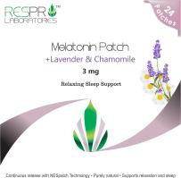 Respro Labs Natural Melatonin (3 mg) Relaxing Sleep Support Patch with Soothing Lavender, Chamomile, and Lemon Balm Essential Oils, Continuous Release - 24 Patches (Lowest Price PER MG of MELATONIN)