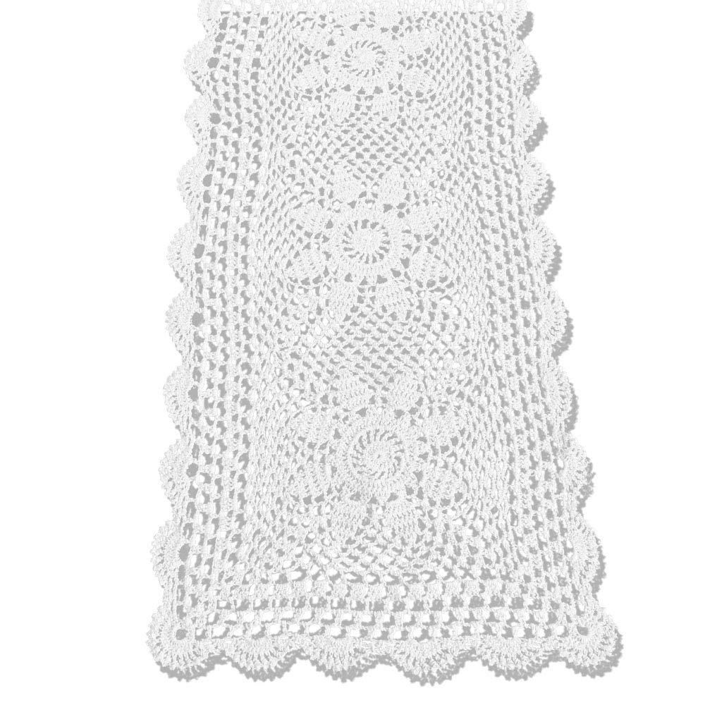KEPSWET Sunflower Cotton Handmade Crochet Lace Rectangle Table Runner Coffee Table Decor (14x60 inch, White)