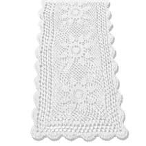KEPSWET Sunflower Cotton Handmade Crochet Lace Rectangle Table Runner Coffee Table Decor (14x72 inch, White)