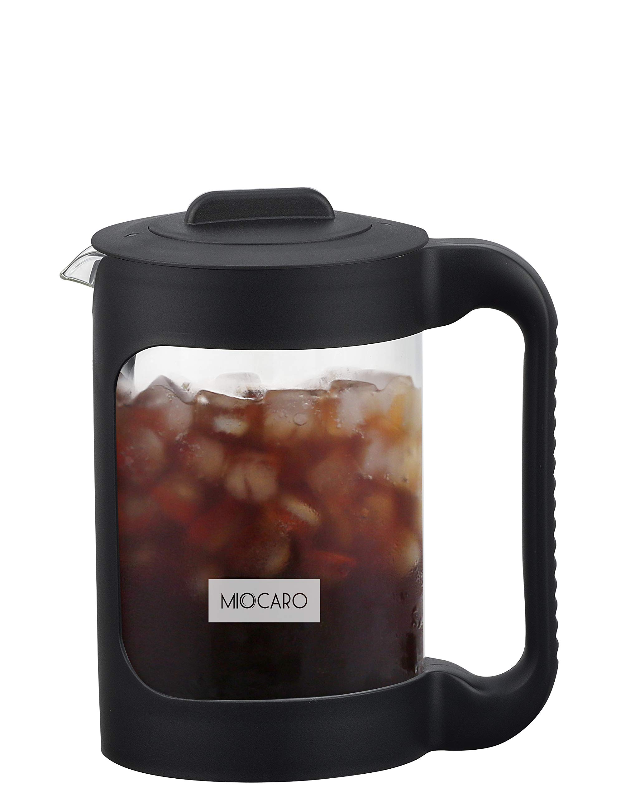 MIOCARO Cold Brew Ice Coffee Maker Stainless Steel Strainer Large 52 Oz Juice Tea Cooler