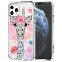 MOSNOVO iPhone 11 Pro Max Case, Flower Giraffee Pattern Printed Clear Design Transparent Plastic Hard Back Case with TPU Bumper Protective Case Cover for iPhone 11 Pro Max