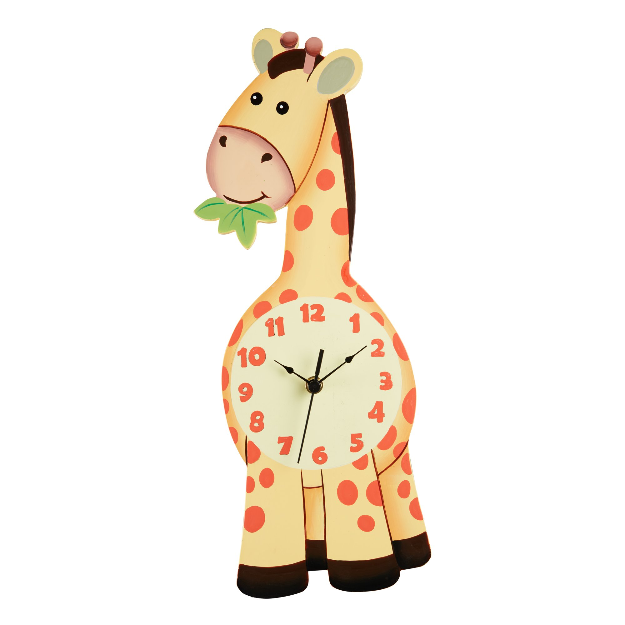 Fantasy Fields - Sunny Safari Giraffe Wall Clock, Silent, Decorative Animal Design for Nursery Kids Bedroom, with Eco-Friendly and Non-Toxic Water-Based Paints, Yellow