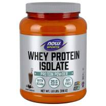 NOW Sports Nutrition, Whey Protein Isolate, 25 G With BCAAs, Creamy Chocolate Powder, 1.8-Pound