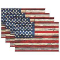 """Naanle Wooden American Flag Placemats Set of 6, 4th of July Star and Stripe Non Slip Heat-Resistant Washable Table Place Mats for Kitchen Dining Table Home Decoration, 12"""" x 18"""""""