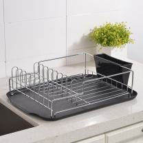 Steel Kitchen Sink Side Draining Dish Drying Rack,Dish Rack with Durable Black Drainboard