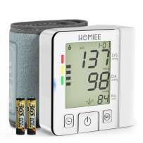 Wrist Blood Pressure Monitor, HOMIEE Automatic Blood Pressure Machine, Portable BP Cuff Monitor with Irregular Heartbeat Indicator, 2 Users 240 Memories, Including 2 Batteries and Storage Box, White