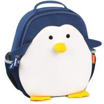 Penguin Washer & Dryer Safe Toddler Backpack & Lunch Bag, Easy to Clean, Durable Neoprene is recycle & reusable, great for Boys & Girls 0-6 yrs old for outdoor, preschool or diaper bag use.
