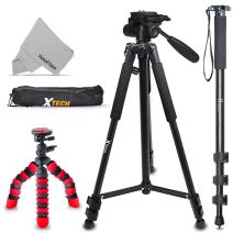 """Xtech Triple Tripod Kit with 72"""" Inch Tripod + 72"""" inch Monopod + 12"""" Flexible Tripod for Sony Alpha A6500 A6300 A6000 A55 A9, A7R II, A7 II, A7 A7R A7S A65 A77 A99 A900 A700 A580 A560 NEX-7 NEX-6"""