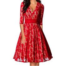 Ez-sofei Women's 1950s Vintage 3/4 Sleeve V Neck Lace Floral Party Swing Dress