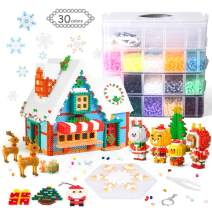 24000 Fuse Beads Kit, 24 Regular Colors 6 Glow in The Dark Colors Fuse Beads with Pegboard Ironing Paper Keychains for Kids Craft