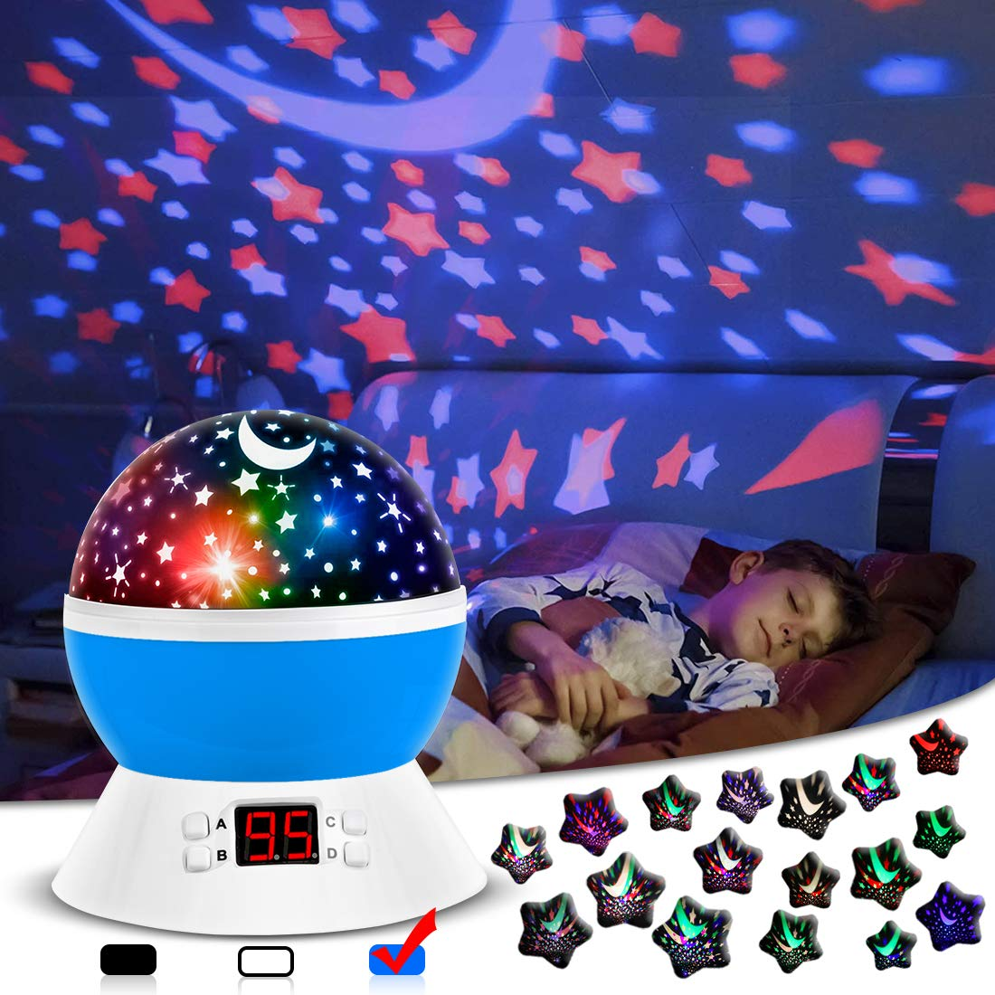 Night Lights for Kids, Star Light Projector with Timer Setting for Baby, Toddler Bedroom Decor, Boys and Girls Gift (Blue)