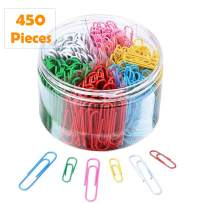 Colorful Paper Clips 450 Pieces Assorted Sizes with 1.1 Inch & 2 Inch Paperclips for Office School Hospital Document Organizing Classification Professional Work Daily DIY Use with Storage Box