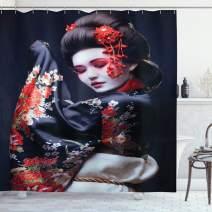 "Lunarable Japan Shower Curtain, Young Geisha in Kimono with Sakura Traditional Oriental Costume Makeup, Cloth Fabric Bathroom Decor Set with Hooks, 84"" Long Extra, Black Cream"