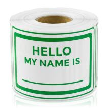 "Hello My Names is 2"" x 3"" Name Tag Badges for Kids, Employees, reunions, Professionals, Parties, School, Events Labels Stickers (Green / 300 Labels per roll / 4 Rolls)"