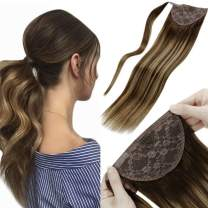 """LaaVoo Clip in Human Hair Ponytail Balayage Ponytail Hair Extensions Color Brown Fading to Strawberry Blonde Highlights Clip in Ponytail Extension Real Human Hair 16"""" 80G"""