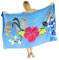 LA LEELA Women's Swimsuit Cover Up Beach Wrap Skirt Hawaiian Sarongs Hand Paint