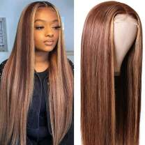 UNice Hair Silk Base Fake Scalp Ombre Highlight Middle Part Wigs for Black Women, Brazilian Straight Human Hair T-Part Lace Closure Wig Pre Plucked with Baby Hair 150% Density 14inch