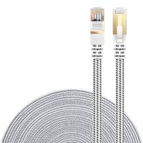 DanYee Cat 7 Ethernet Cable, Nylon 3ft CAT7 High Speed Professional Gold Plated Plug STP Wires CAT 7 RJ45 Ethernet Cable 3ft 10ft 16ft 26ft 33ft 50ft 66ft 100ft (White 3ft)