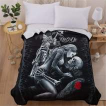 """WONGS BEDDING Skull Blanket Twin Size 3D Beauty Ride or Die Printed Flannel Blanket Soft Cozy Microfiber Reversible Flrow Blanket for Bed, Couch, Sofa Camping Travel and Gifts 60""""x80"""""""