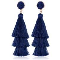 Women Long Tassel Dangle Earrings Colorful Layered Tiered Tassel Drop Earrings with Tasseled Spikes for Women Bohemian Style