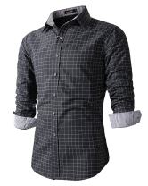 Beninos Men's Casual Long Sleeve Plaid Slim Fit Dress Shirts