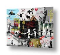"""Alonline Art - Unique Collage #156 Always Hope Flower Thrower by Banksy   print on 100% cotton canvas   Ready to frame (Rolled)   41""""x31"""" - 105x79cm   Wall art home decor for bedroom oil painting HD"""