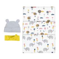 Bubzi Co Elephant Swaddle Muslin Receiving Blankets Set Pack of 3 –Gender Neutral Design -Soft 100% Cotton Fabric - 47 x 47 inch- 120 x 120cm – Infant Swaddling Blankets for Baby Registry Burp Diaper