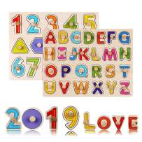 ZCGC Puzzles for Toddlers, 2 Piece Premium Wooden Peg Puzzle Set for Kids - Alphabet, Numbers + Shapes Puzzle Toy - Perfect Pegged Knob Puzzles for Kids Toddlers Ages 3+