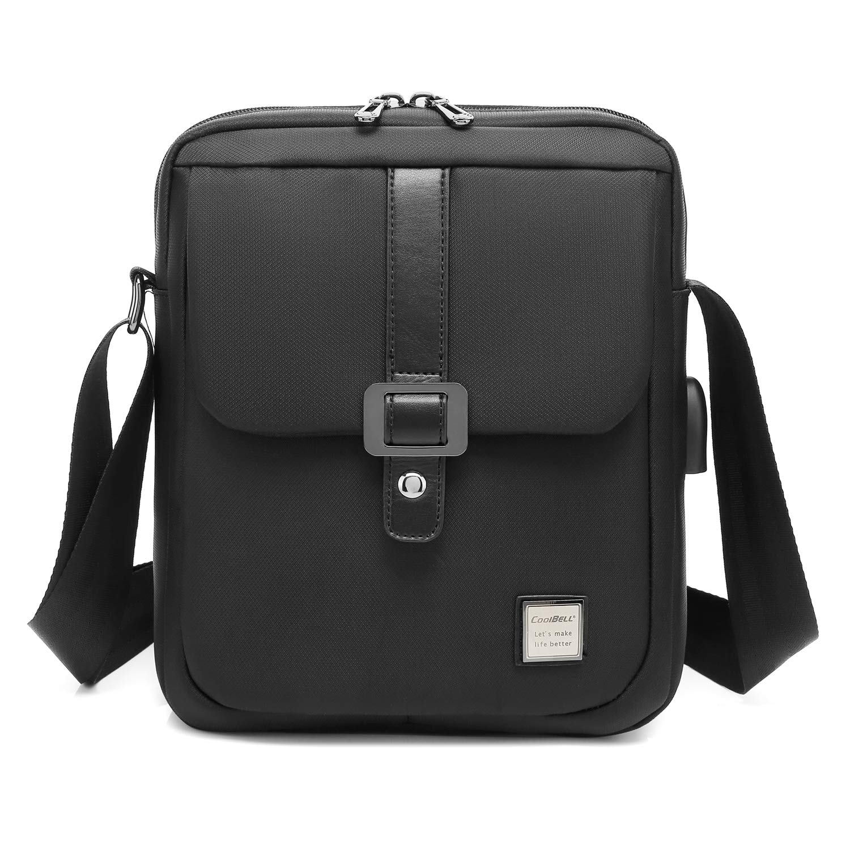CoolBELL Messenger Bag for Men/Women Nylon 10.6 Inches Tablet Bag Shoulder Bag for Travel/School/Work (Black)