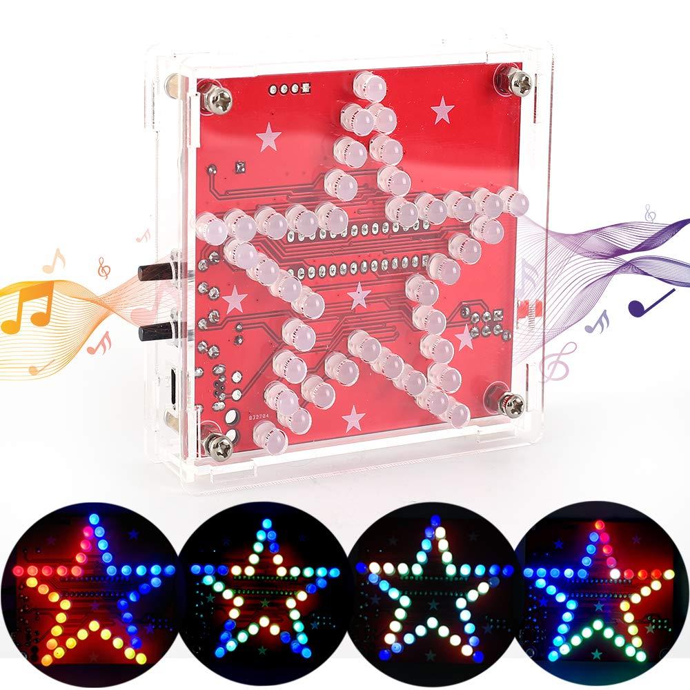 ICStation Star Soldering Practice Kit, DIY Electronic Assemble Project, LED Flashing Beep Music DC 5V USB