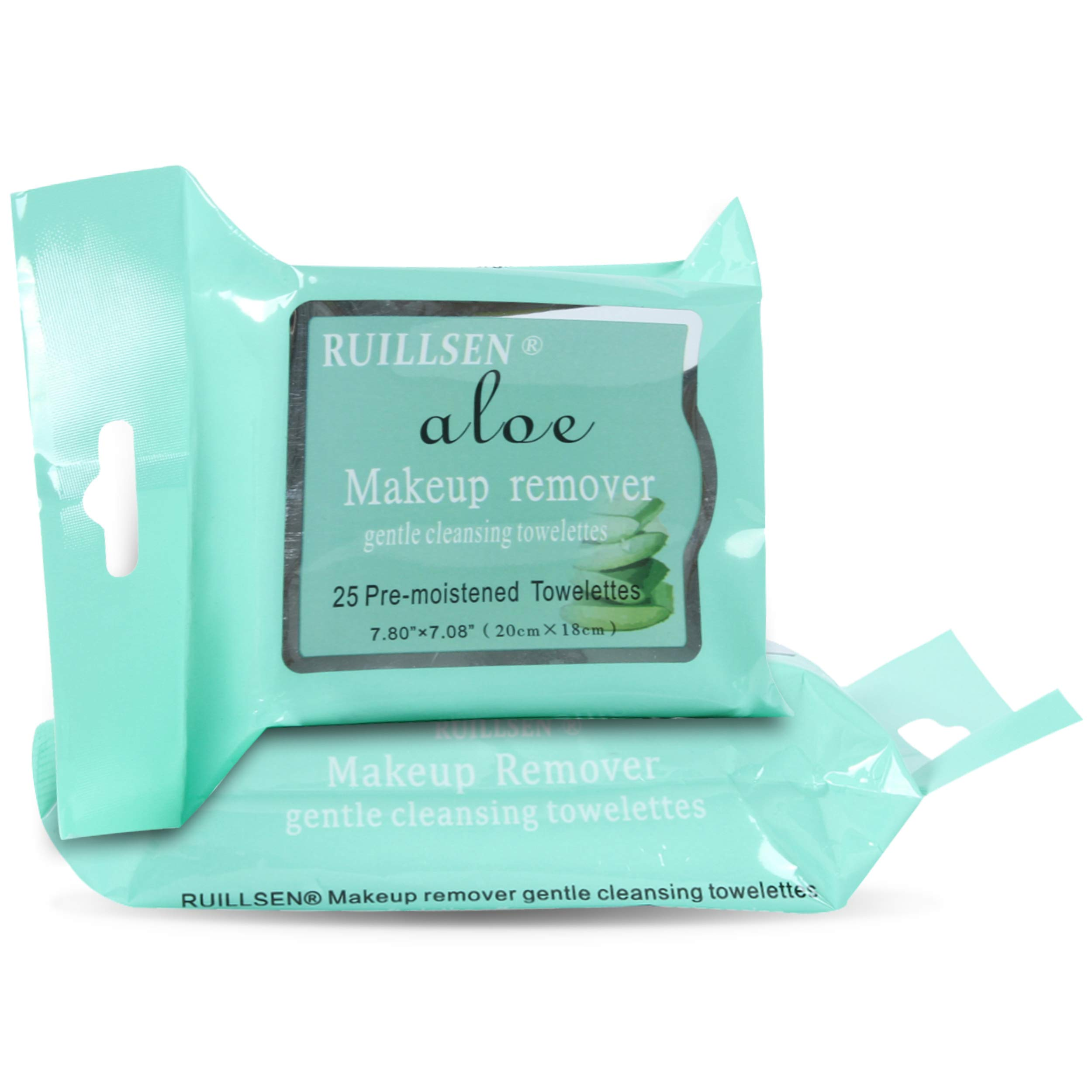 RUILLSEN Fresh Makeup Remover Cleansing Travel Wipes, Summer Use Cleansing Towelettes Daily Face Wipes to Remove Dirt, Oil, Makeup & Waterproof Mascara for Galentine Gift(Aloe Flavored,25 Ct,2 Pks)