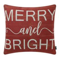 TRENDIN Christmas Farmhouse Red Merry and Bright Throw Pillow Cover 18x18 Inch Cotton Linen Square Decorative Winter Holiday Cushion Cover Xmas Pillowcase for Sofa Couch PL576TR