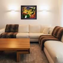 "La Pastiche Yellow Cow with Sambrosa Distressed Espresso Framed Oil Painting, 30"" x 26"", Multi-Color"
