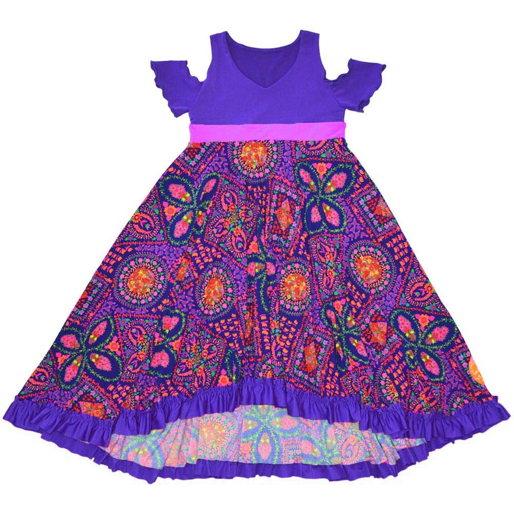 TwirlyGirl Purple Girls Dress Flowers Unique Pretty Cold Shoulder High Low Hem