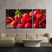"""wall26 - 3 Piece Canvas Wall Art - Raw Organic Strawberry Cherries Ready to Eat - Modern Home Decor Stretched and Framed Ready to Hang - 16""""x24""""x3 Panels"""