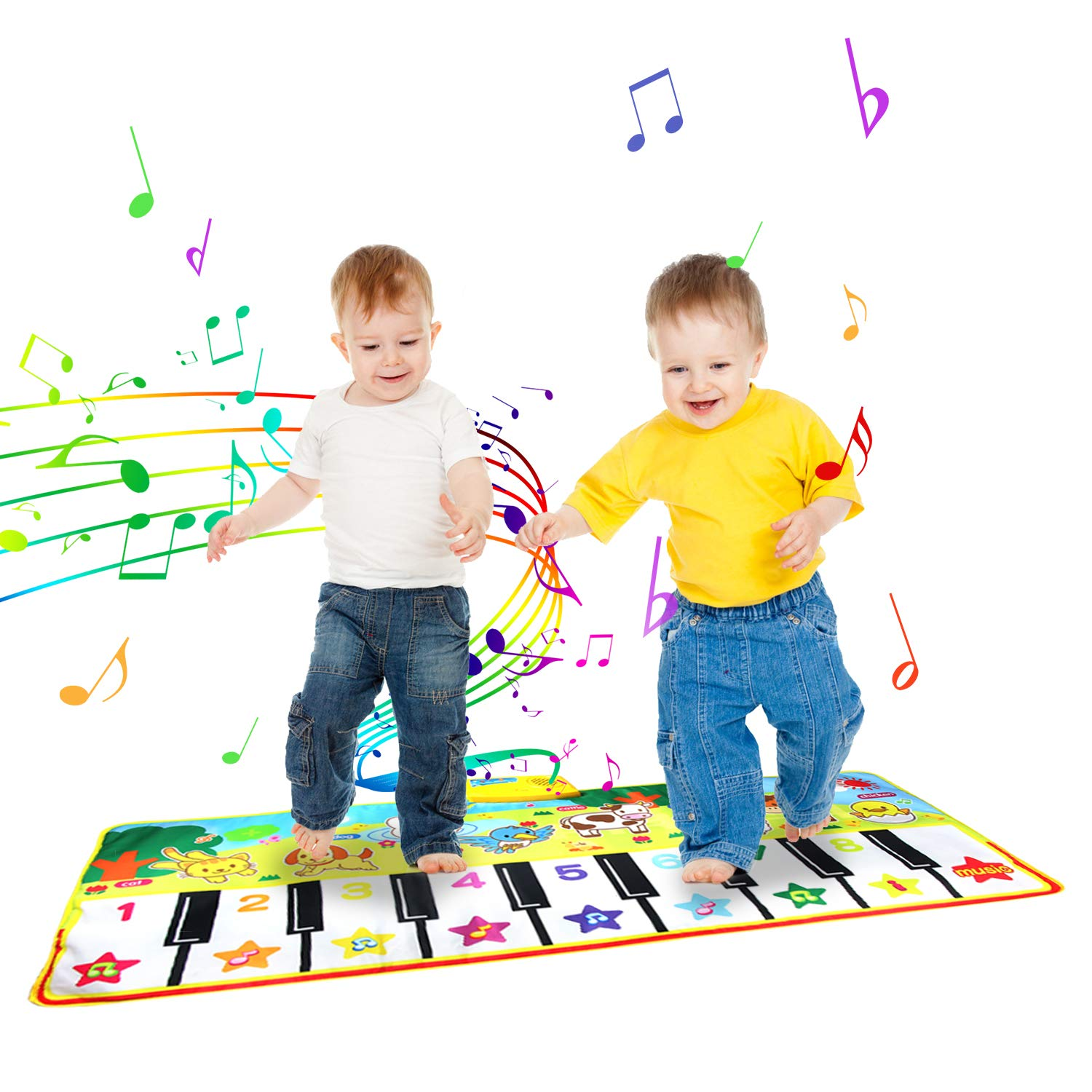 "Jenilily Piano Mat, Kids Musical Piano Mat 53"" x 23"" Music Keyboard Play Mat with 8 Animal Sounds Dance Mat Educational Musical Toy Gift for Girls Boys Toddlers"