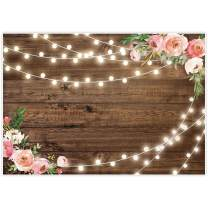 Allenjoy 7x5ft Fabric Rustic Floral Wooden Backdrop for Baby Shower Bridal Wedding Studio Photography Pictures Brown Wood Floor Flower Wall Background Newborn Birthday Party Banner Photo Shoot Booth