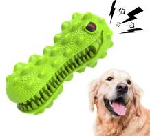 EUBOPET Dog Chew Toys for Aggressive Chewers - Indestructible Dog Squeaky Toothbrush Toys for Large Breed Tough Natural Rubber Dinosaur Puppy Dental Toy…