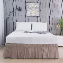 AYASW Bed Skirt 15-16 Inch Drop Dust Ruffle Three Fabric Sides Wrap Around with Elastic No Top Easy On (Twin-Full Light Taupe)
