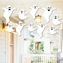 Big Dot of Happiness Hanging Spooky Ghost - Outdoor Hanging Decor - Halloween Party Decorations - 10 Pieces