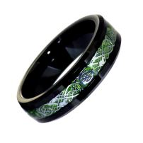 Fantasy Forge Jewelry Black Tungsten Green Celtic Dragon Ring Womens Mens 6mm Viking Band Sizes 5-10