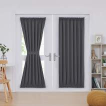 Deconovo Grey Blackout Door Curtains 2 Panels Thermal Insulated Energy Saving Blackout Curtains for Living Room 52x72 Inch