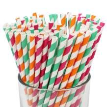 Just Artifacts Premium Biodegradable 100pcs Decorative Paper Straws (Color: Sherbet Dessert)