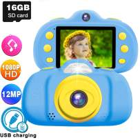 """GBD Kids Selfie Camera,1080P 12MP 2.4"""" Kids Digital Camera Boys Girls Toddlers Video Camera Shockproof with Dual Lens 16GB SD Card Camera Toys Voice Recorder Holiday Birthday Gifts-Blue"""