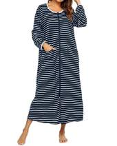 SUNNYME Womens Pajamas Long Sleeve Zip-Front Sleepwear Zipper Robes Nightgowns Duster Housecoat with Pockets Bathrobe