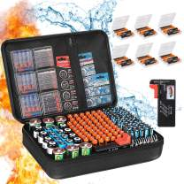 Battery Organizer Storage Box, Fireproof Waterproof Explosionproof Carrying Batteries Case,ZesGood Battery Storage Organizer with Tester,Safe Holds 200+Batteries (Not Includes Batteries)
