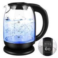 Electric Kettle, Glass Tea Kettle & Water Boiler Variable Temperature Control Tea Heater with LED Indicator Light Change Auto Shut-Off, Boil-Dry Protection, Keep Warm 1.7 L Tea Kettle (BPA Free)