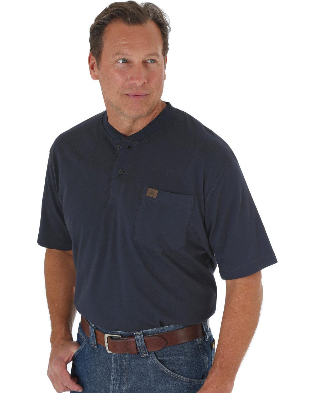 Wrangler RIGGS Workwear Men's Long Sleeve Henley, Navy, 3X Big